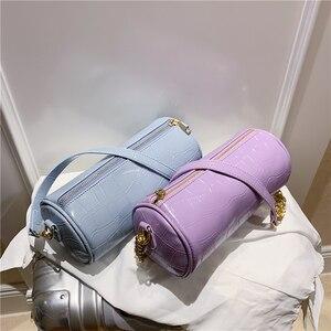Crocodile pattern Cylinder Tote bag 2020 new high-quality PU leather Women's Designer Handbag Chain Shoulder Messenger Bag