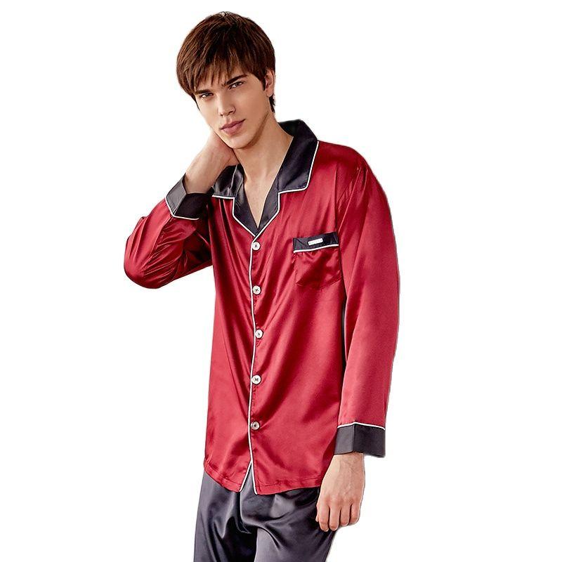 Silk Pajama Sets Male Spring Summer New Faux SILK Sleepwear Man Two-Tones Long-Sleeve Nightwear 2-Pieces X9005