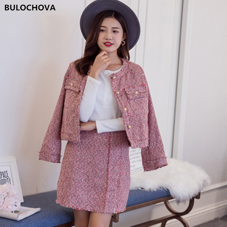 2020 Autumn Winter Ladies Single-Breasted Big Size Tweed Wool Suit Tassel Short Jacket Coat + Mini Skirt 2 Piece Sets for Women