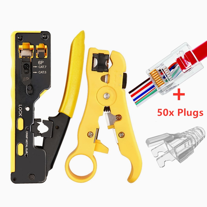 All in One Easy RJ45 Tool RJ45 Crimper easy Crimping Tools with Cat7 Cat6 Cat5e RJ45 Connector Modular Plugs and RJ45 Caps