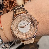 Dacr New Roman digital women's watch fashion trend personality three bead steel band Watch Crystal quicksand Watch