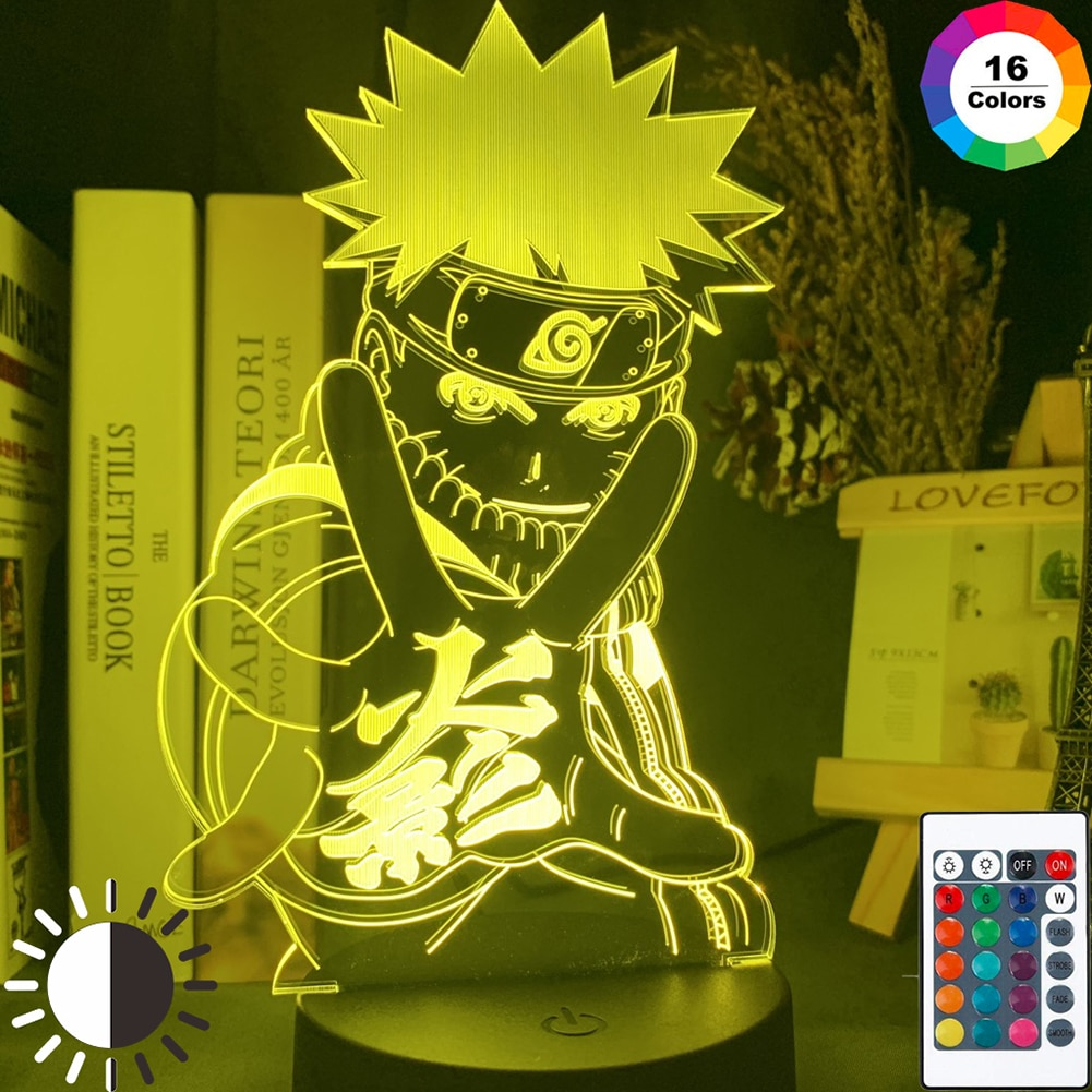 3D LED Night Light Naruto Sasuke Itachi Action Figure 16 Colors Touch Home Bedroom Decorative Xmas Gift Touch Remote Control