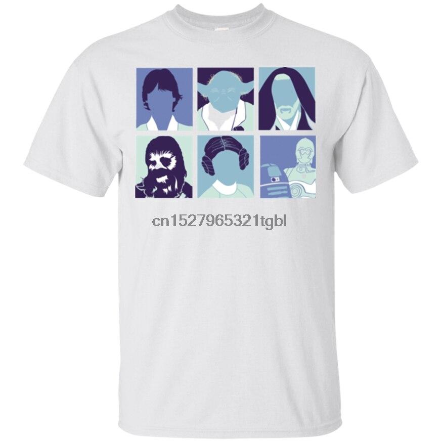 Camiseta blanca de Star Pop, Yoda, Darth Vader, Obi-Wan Kenobi, Leia y Organa
