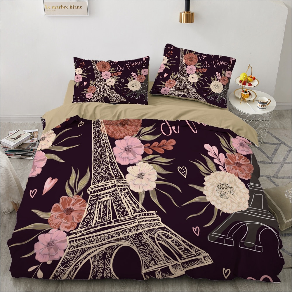 Eiffeltower-مجموعات مفروشات ثلاثية الأبعاد فاخرة ، سلسلة سوداء ، مطبوعة ، كوين ، سرير مزدوج ، سرير مزدوج ، غطاء لحاف منزلي ، أغطية سرير