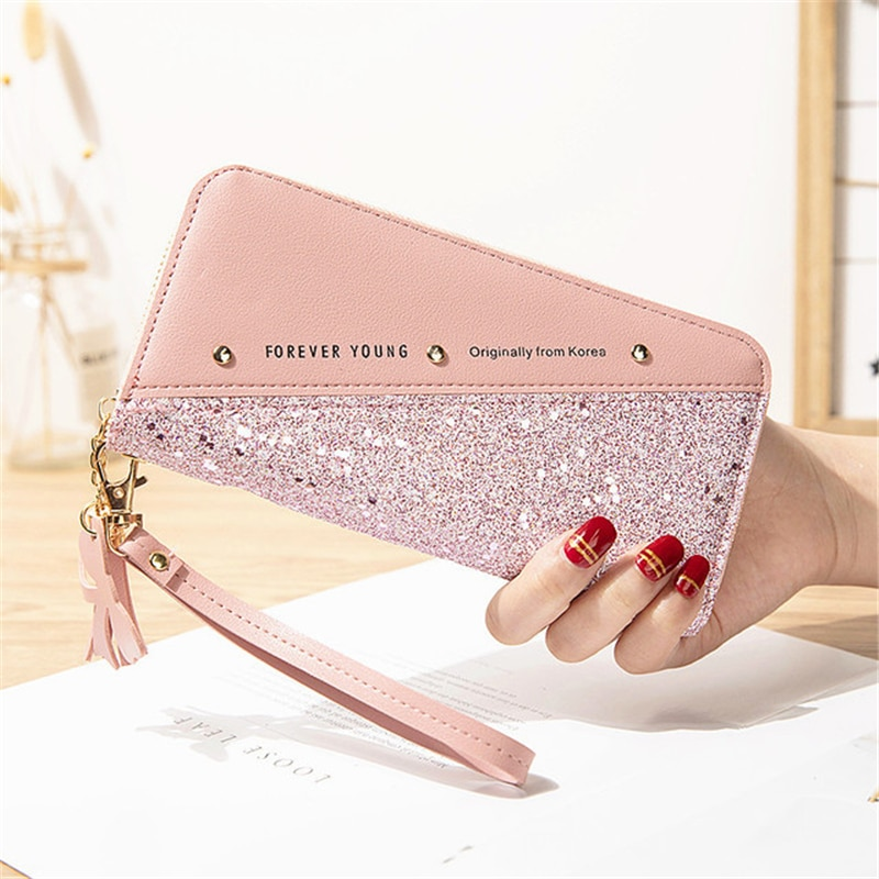 Fashion Sequined Patchwork Glitter Wallet for Women Long PU Leather Wallet Coin Purse Female Wallets Girls Gifts Wholeale