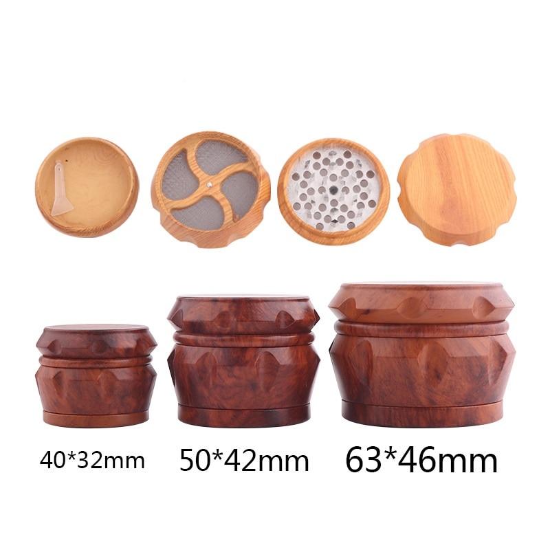 Abs resina 4-camadas moedor de tabaco 40/55/63mm diâmetro fumo acessório para erva seca triturador de ervas daninhas mão muller epacket