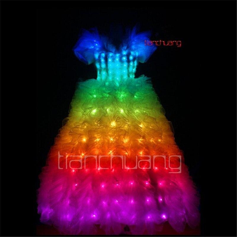 DMX programable vestido con luces led trajes de baile dj falda luminosa brillante para fiesta lleva traje RGB a todo color ropa led