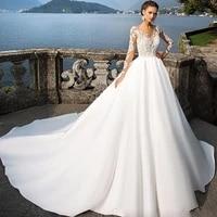 bridal button illusion back satin train wedding dress long sleeve v neck floor length customized appliques bridal dress