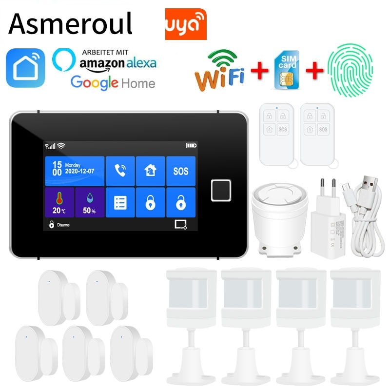 433MHz Home Burglar Alarm Wifi GSM Alarm System Wireless Wired Sensor TFT Touch Keyboard Fingerprint Arming Temperature Humidity enlarge