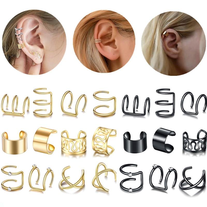 12τμχ / σετ μόδας χρυσό χρώμα μανικετόκουμπα σκουλαρίκια φύλλων για γυναίκες χωρίς σκουλαρίκια