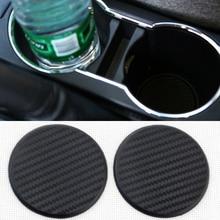 2pcs Black Carbon Fiber Look Car Water Cup Slot Non-Slip Mat Pad Interior Parts Universal Auto Car A