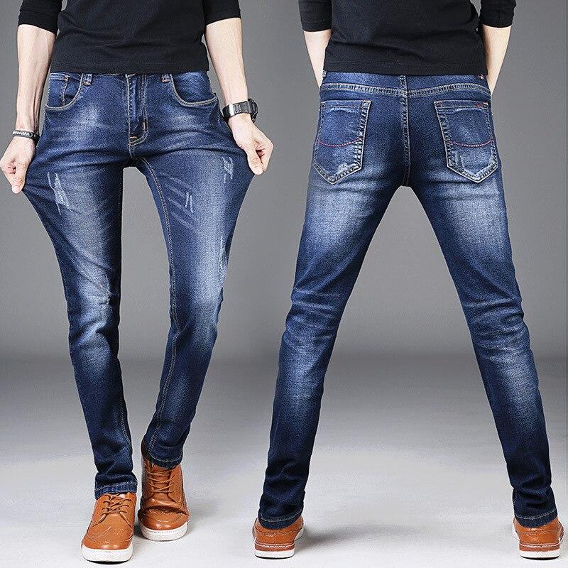 Мужские эластичные джинсы, синие облегающие удобные штаны в Корейском стиле с карманами сзади, Простые штаны для осени, 2021