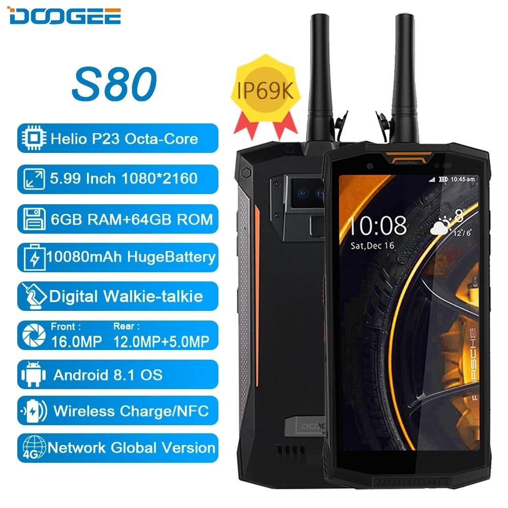 Перейти на Алиэкспресс и купить DOOGEE S80 мобильный телефон IP68/IP69K Walkie talkie 10080 мАч 12V2A 5,99 FHD Helio P23 Восьмиядерный 6 ГБ 64 Гб 16.0MP NFC Смартфон