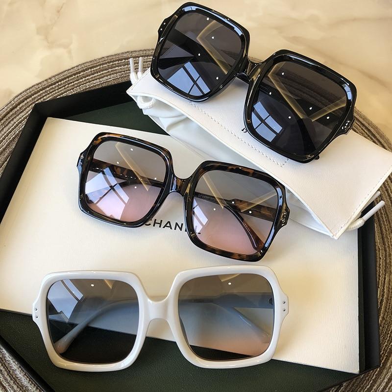 Vintage Oversize Square Sunglasses Women Luxury Brand Big Frame Women Sun Glasses Black Fashion Grad