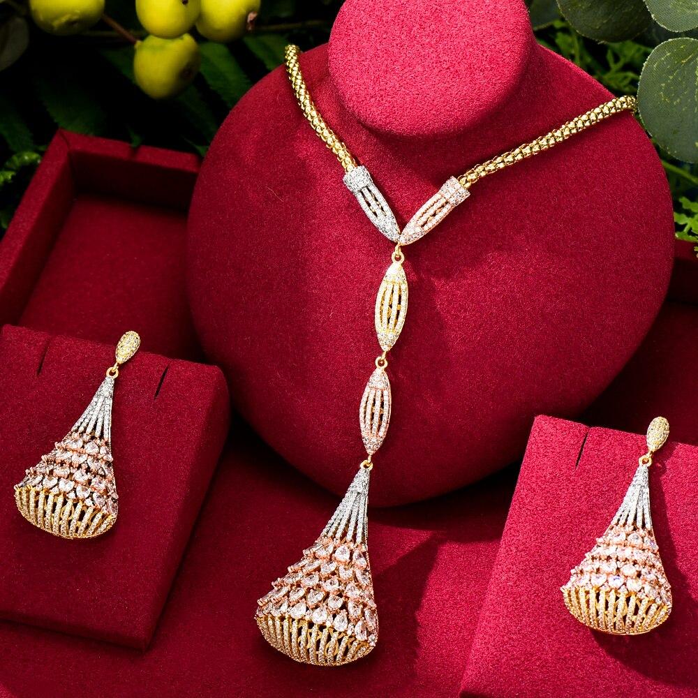 Brand New الفاخرة رائع طويل إسقاط قلادة أقراط قلادة طقم مجوهرات سوبر تشيكوسلوفاكيا للنساء السيدات فتاة أفضل هدية عالية الجودة