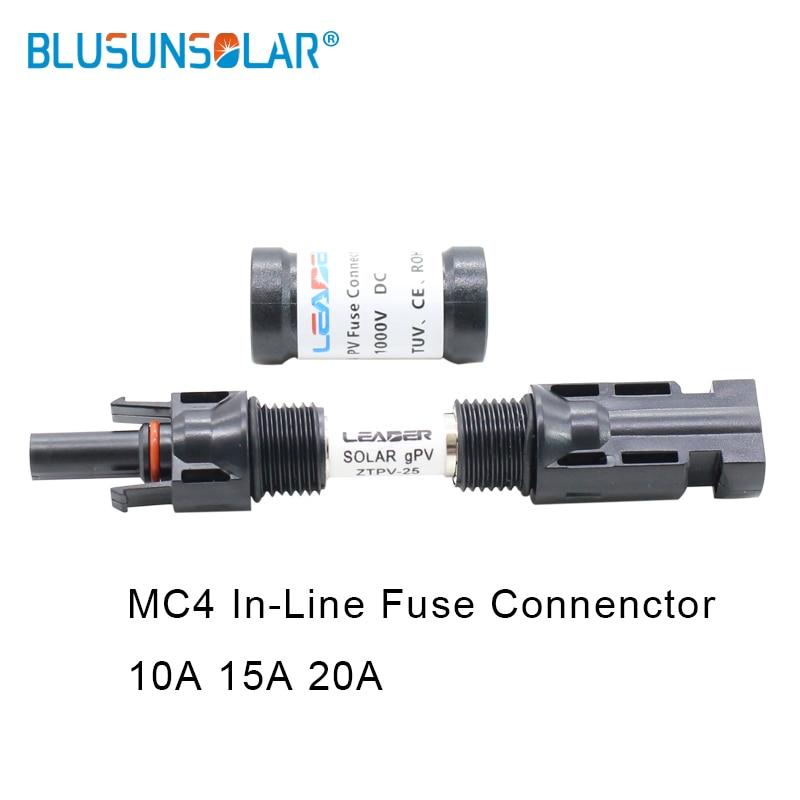 BULSUNSOLAR 5 uds. Conector de fusible en línea Solar 20A mp 1000 V DC macho a hembra PV soporte de fusible Solar