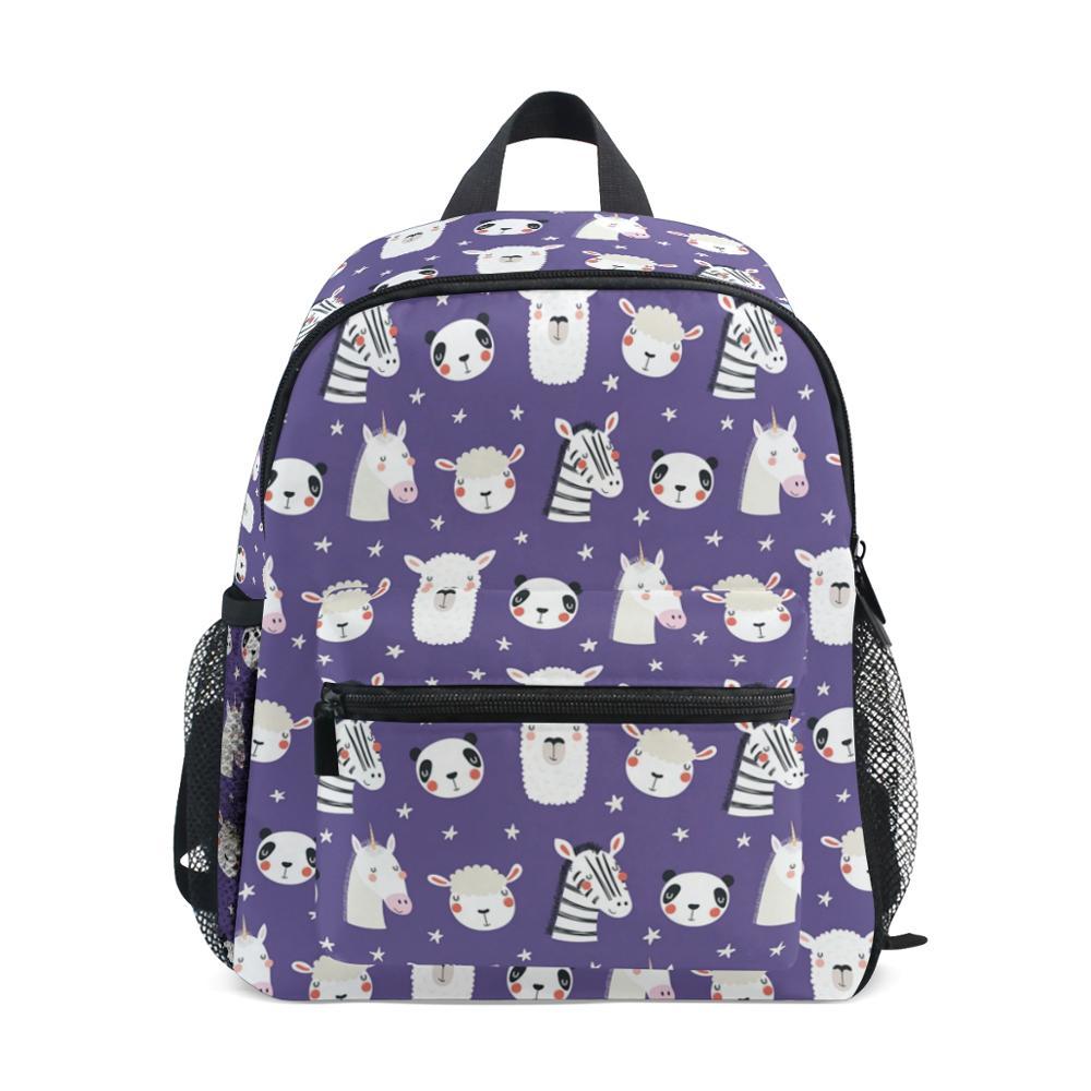 Mochila ALAZA para niños, mochila infantil para niños, bebés, bonitos unicornios, mochila de dibujos animados para niños, mochilas escolares para chicas, púrpura