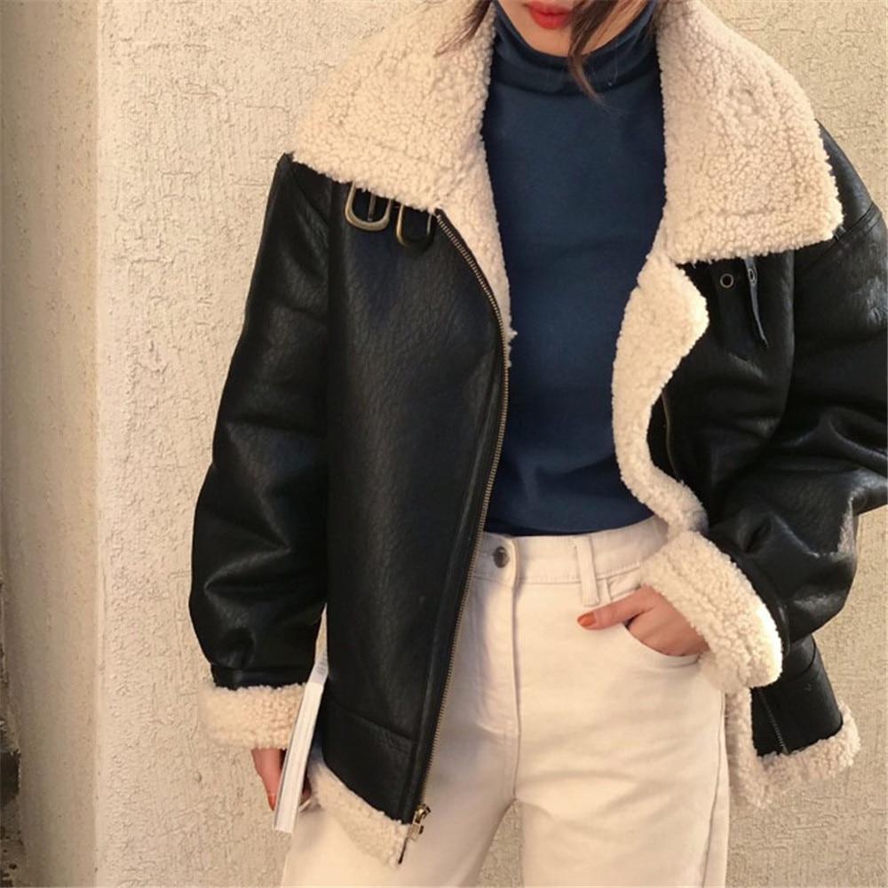 Winter Coat Women Solid Thicken Wool Turn Down Collar Leather Jacket Coat For Women Moto Biker Winter Plush Coat enlarge