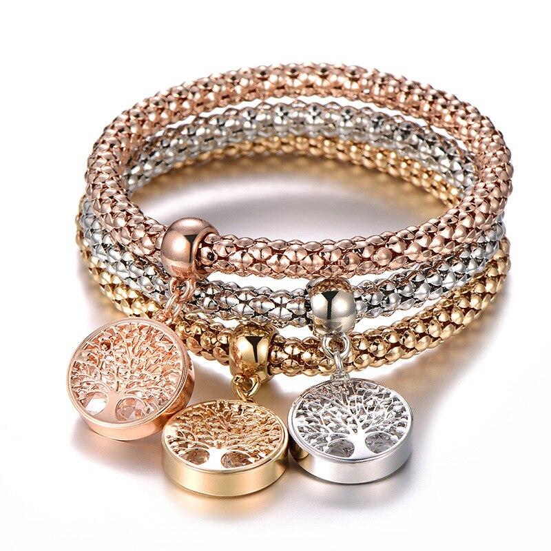 3 шт./компл. браслет-цепочка с кристаллом цирконием древо жизни, эластичный браслет, прекрасный браслет, женские очаровательные модные ювелирные изделия, женский подарок