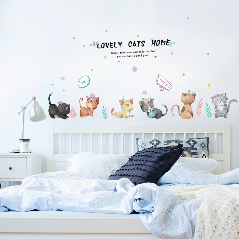 Lindo gato pared pegatina dormitorio accesorios pared pintura bebé habitación decoración DIY niños habitación decoración papel tapiz pared arte