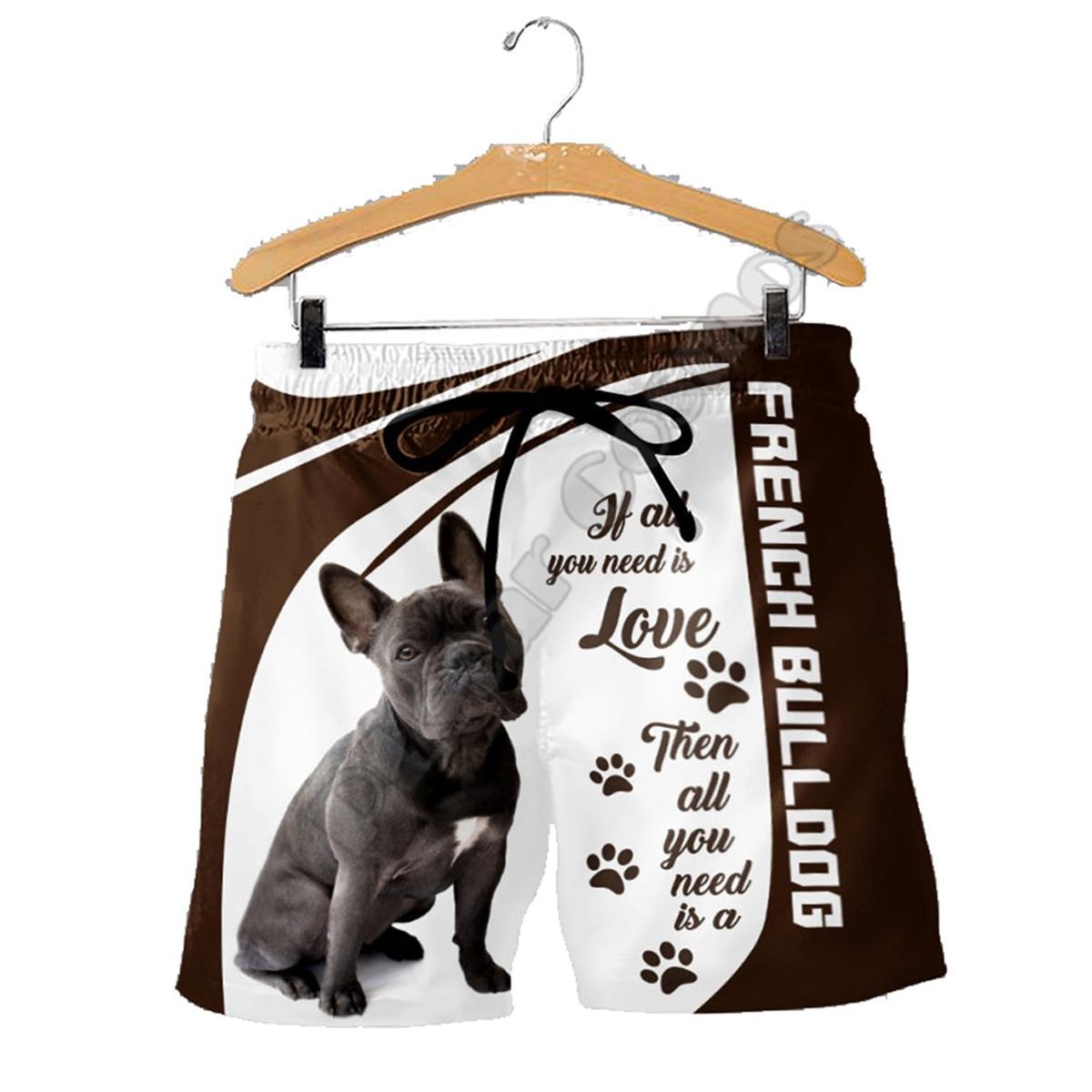 PLstar Cosmos French Bulldog Mens Shorts Summer Casual Funny Animal 3D Printed Loose Cool Beach Comfortable