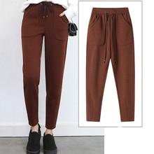 Autumn Winter Pants Thicken High Waist Loose Casual Trousers Solid Color Harem Pants Women Ankle-Len