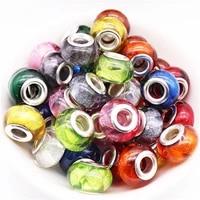 10pcs new colorful glitter beads bulk fit pandora bracelet diy chain pendants charms for jewelry making craft for women girl men