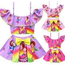 Fancy nancy sukienka piękne dziewczyny plaża styl lol sukienka bikini set stroje kąpielowe dla dzieci dziewczyna stroje kąpielowe dzieci plaża sukienka maluch ubrania