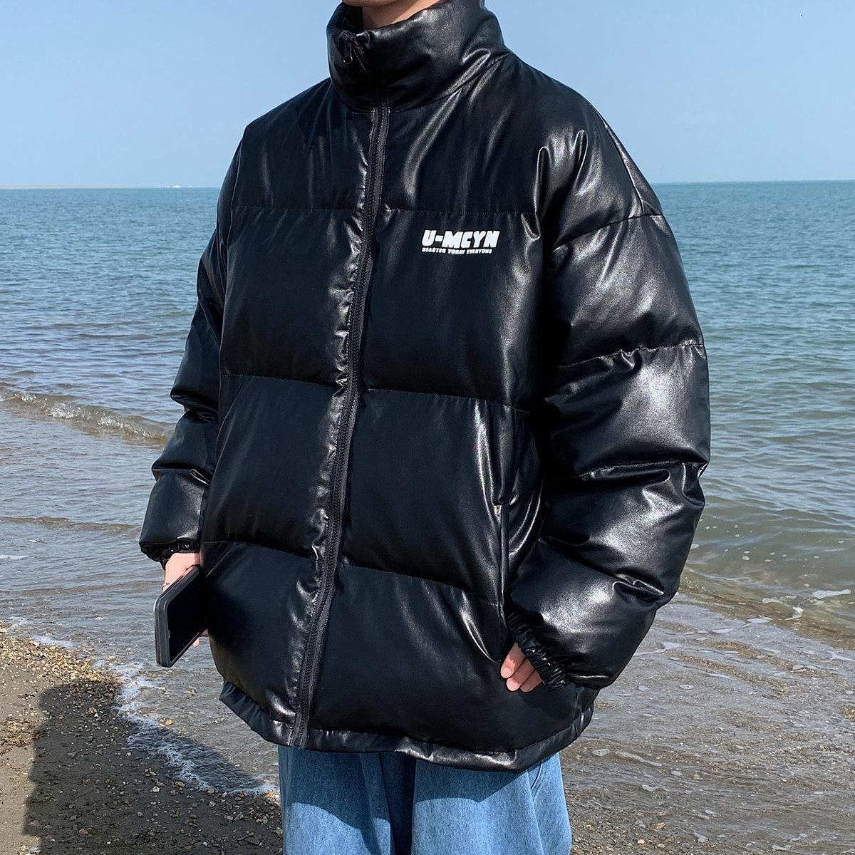 Мужская зимняя куртка из искусственной кожи Primvathinker, черная теплая парка с буквенным принтом, мужская повседневная куртка с воротником-стой...