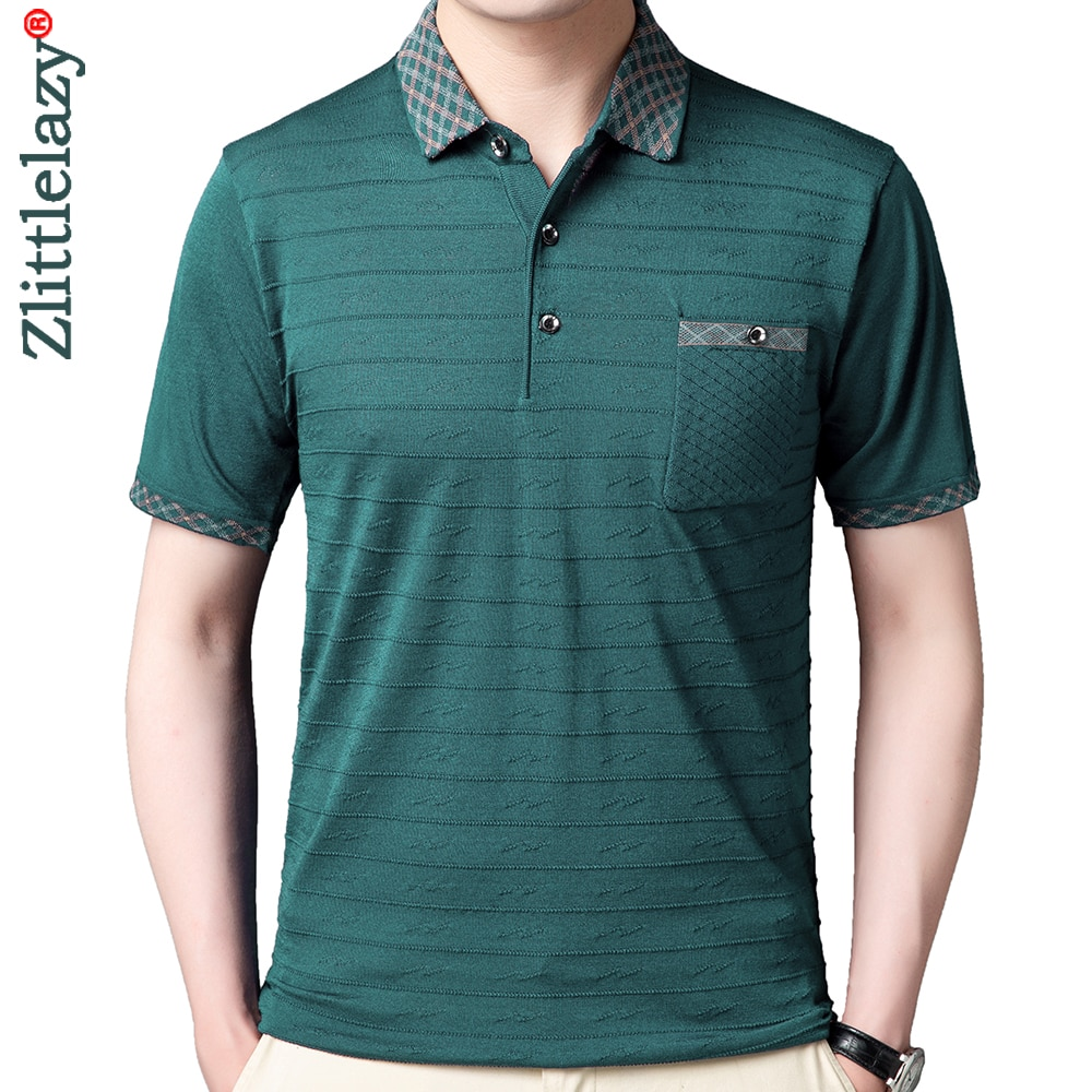 2020 Summer Short Sleeve Polo Tee Shirt Men Casual Pocket Striped Men's Clothing Polos Shirts Mens Fashion Slim Fit Poloshirt 52