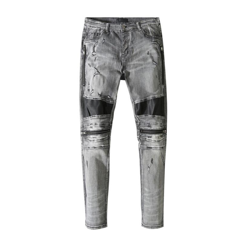 American Famous Brand AMR Rock Style Leather Patch Ripped Jeans Men Trousers Streetwear Techwear Traf Pants for Men