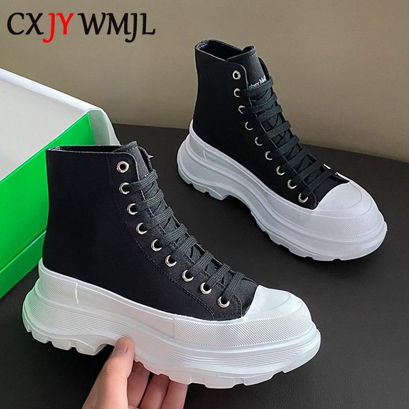 CXJYWMJL 2021 جديد منصة أحذية رياضية للنساء الخريف عالية عصابة قماش حذاء أبيض صغير غير رسمي سميكة أسفل أحذية مفلكنة
