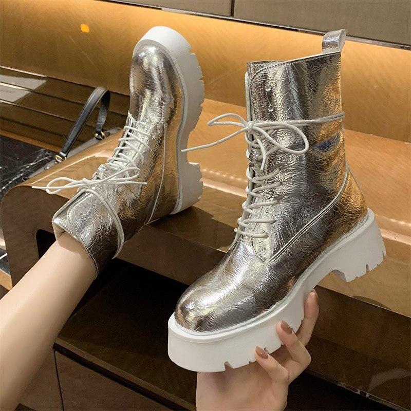 Las mujeres tobillo corto botas damas Cuero brillante suave de moda plataforma de zapatos de mujer Zapatos de calzado nuevo mujer comodidad