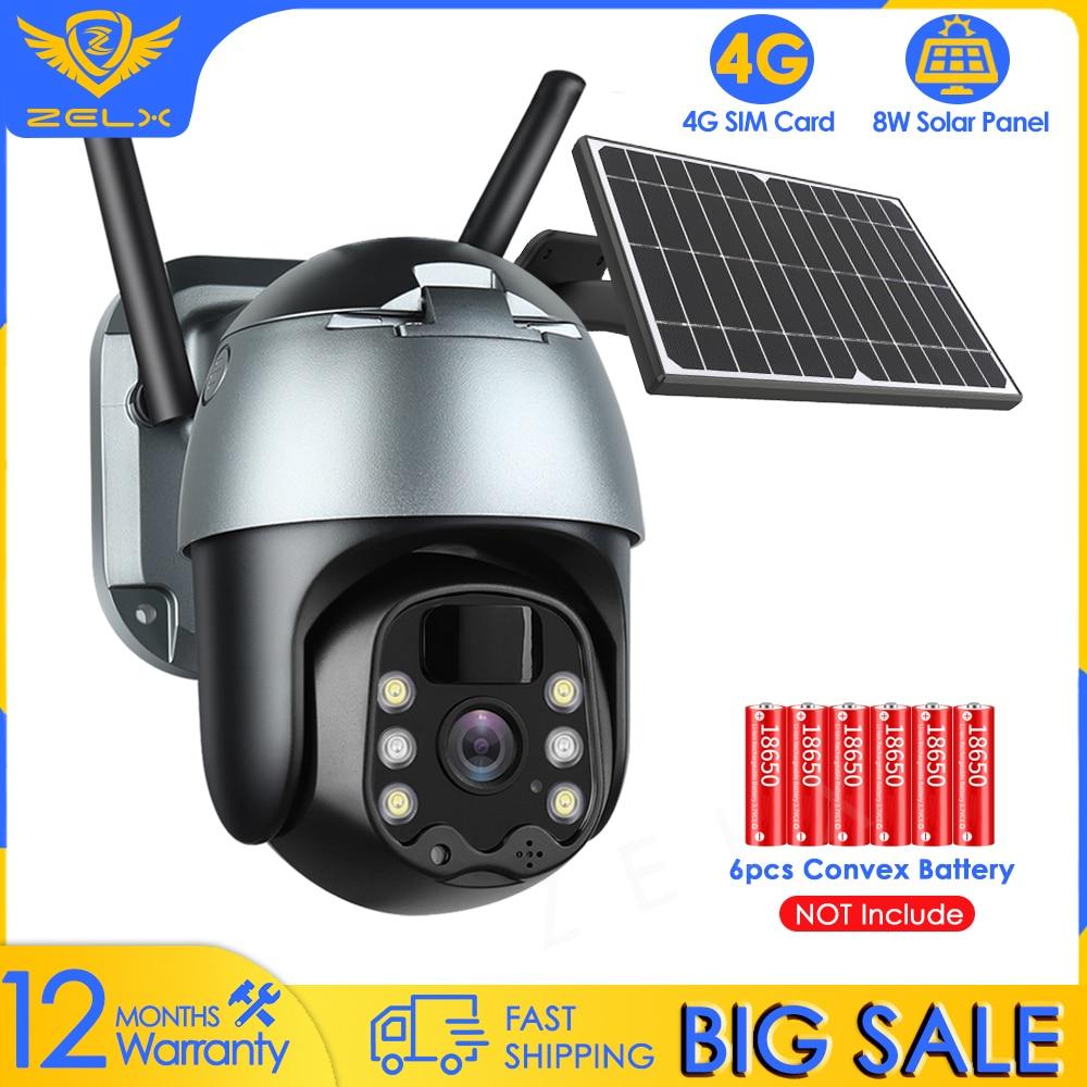 4G Solar IP Camera WiFi Outdoor Video Surveillance Camera PTZ Battery Powered CCTV Security Camera Color Night Vision Waterproof