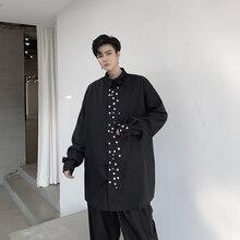 Men Loose Button Design Long Sleve Casual Black Long Shirt Male Japan Streetwear Hip Hop Punk Gothic Dress Shirt Stage Clothes