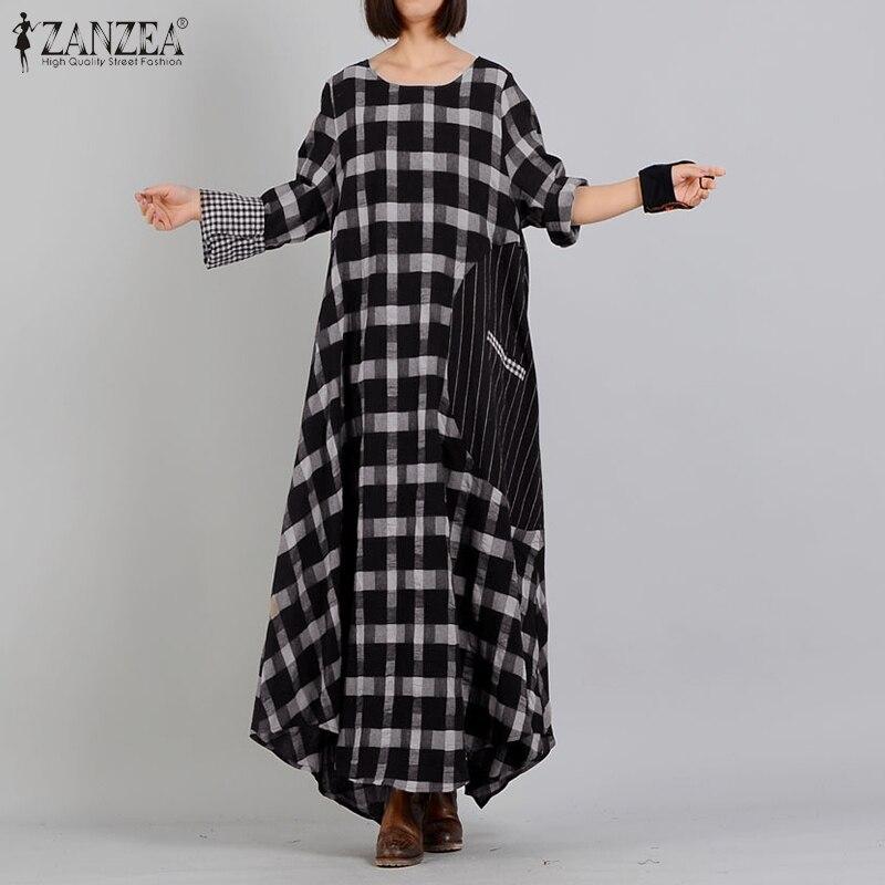 aliexpress.com - Vintage Check Dress Women Plaid Sundress ZANZEA Spring Casual Long Sleeve Maxi Vestidos Female Striped Robe Femem