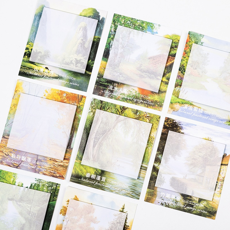 Kawaii Scenery Memo Sheets наклейки планировщик милые Memo Pad Stick Note Memopad отправленные бумажные корейские канцелярские школьные принадлежности