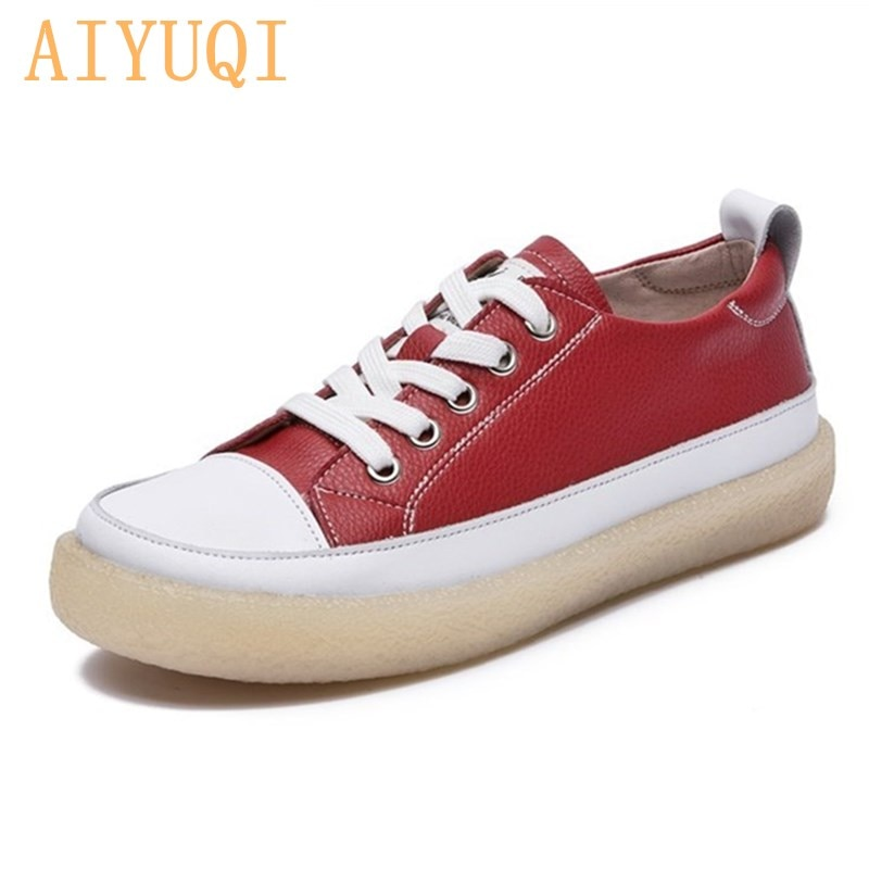 Women Spring Shoes 2021 New Genuine Leather Trend Color Matching Women Shoes Flat Bottom Lace-up Casual Girl Student Shoes