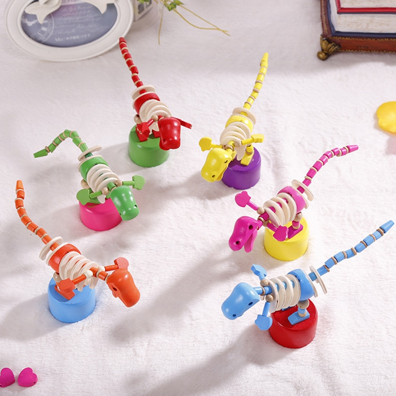 Columpio creativo de dibujos animados, dinosaurio balancín de juguete de madera, juguete de pie divertido, dinosaurio para niños