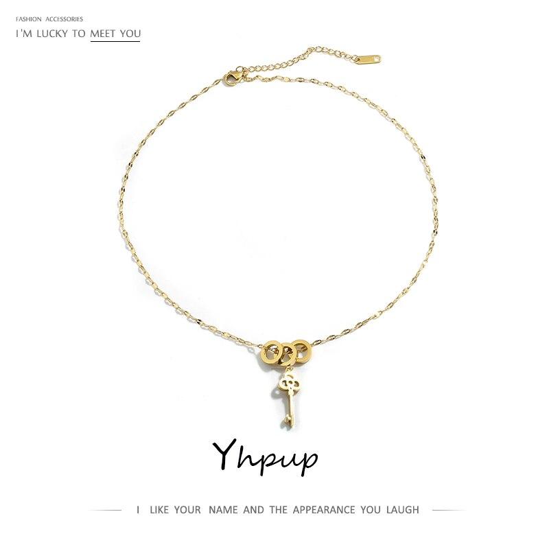 Yhpup 316L collar de acero inoxidable oro romántico círculo llave colgante collar agua ola cadena joyería para mujer regalo de Navidad