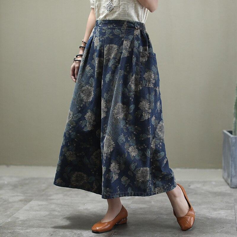 Женские джинсы в этническом стиле размера плюс, весна-осень 2020, с эластичной резинкой на талии, с цветочным принтом, свободные джинсы с карма...