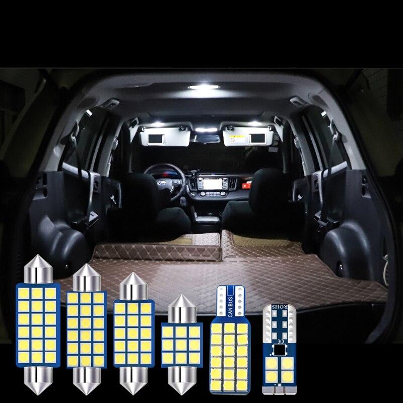 For Toyota RAV4 XA50 RAV 4 2019 2020 6pcs Car LED Bulbs Interior Dome Reading Lamps Trunk Light Vanity Mirror Lights Accessories