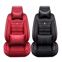 luxury durable leather 5 seats car seat covers black red front rear full set cushion protector universal
