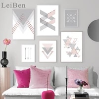 pink gray arrow geometric abstract art poster nordic canvas print simplicity painting wall picture for living room decoration
