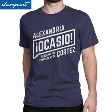 Alexandria Ocasio Cortez T-Shirt for Men AOC Democrat Politics Hipster Tees Round Neck Short Sleeve T Shirts Original Clothes