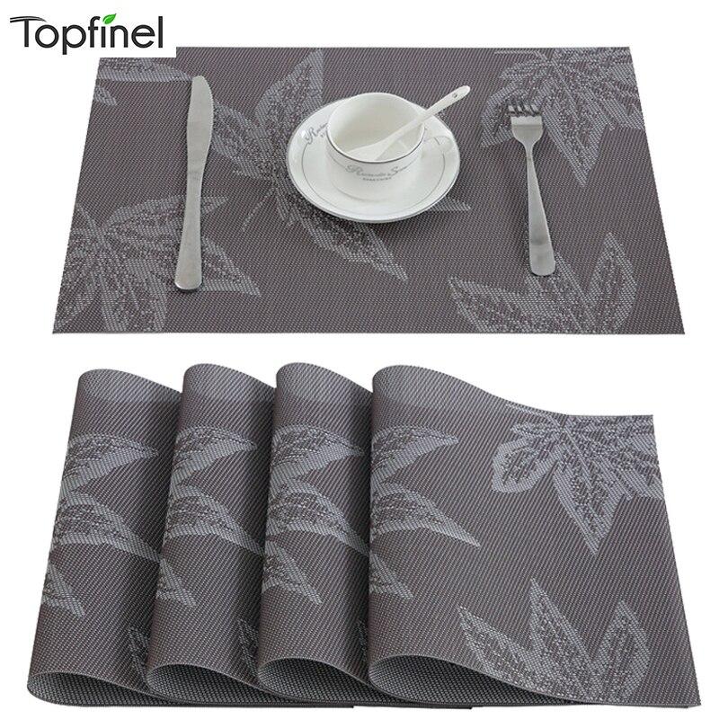 Topfinel PVC カエデの葉のランチョンマットダイニングコーヒープラスチックカップコースターキッチンアクセサリー染色でパッドテーブルマット
