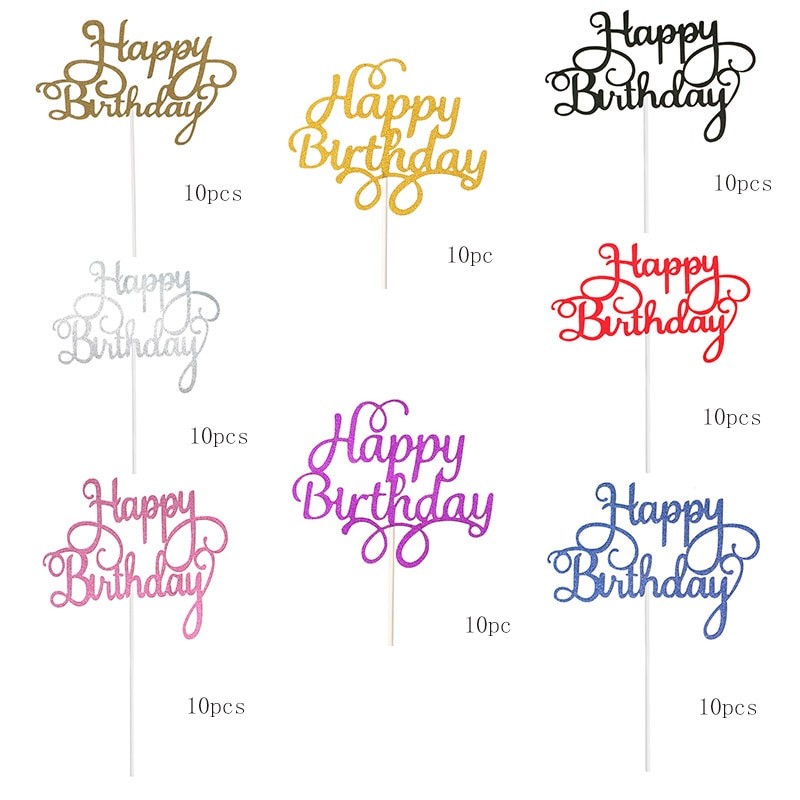 10 Pieces of Happy Birthday Cake Topper Bling Decoration Logo Girl