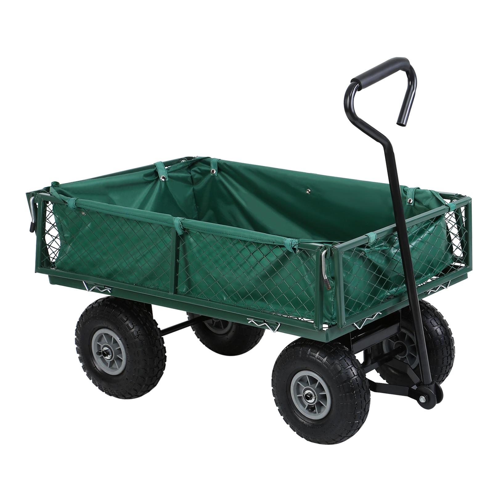 Yonntech pliable jardin Chariot Chariot Chariot camion 4 roues tirer le long brouette Chariot de pliage Panier de Wagon