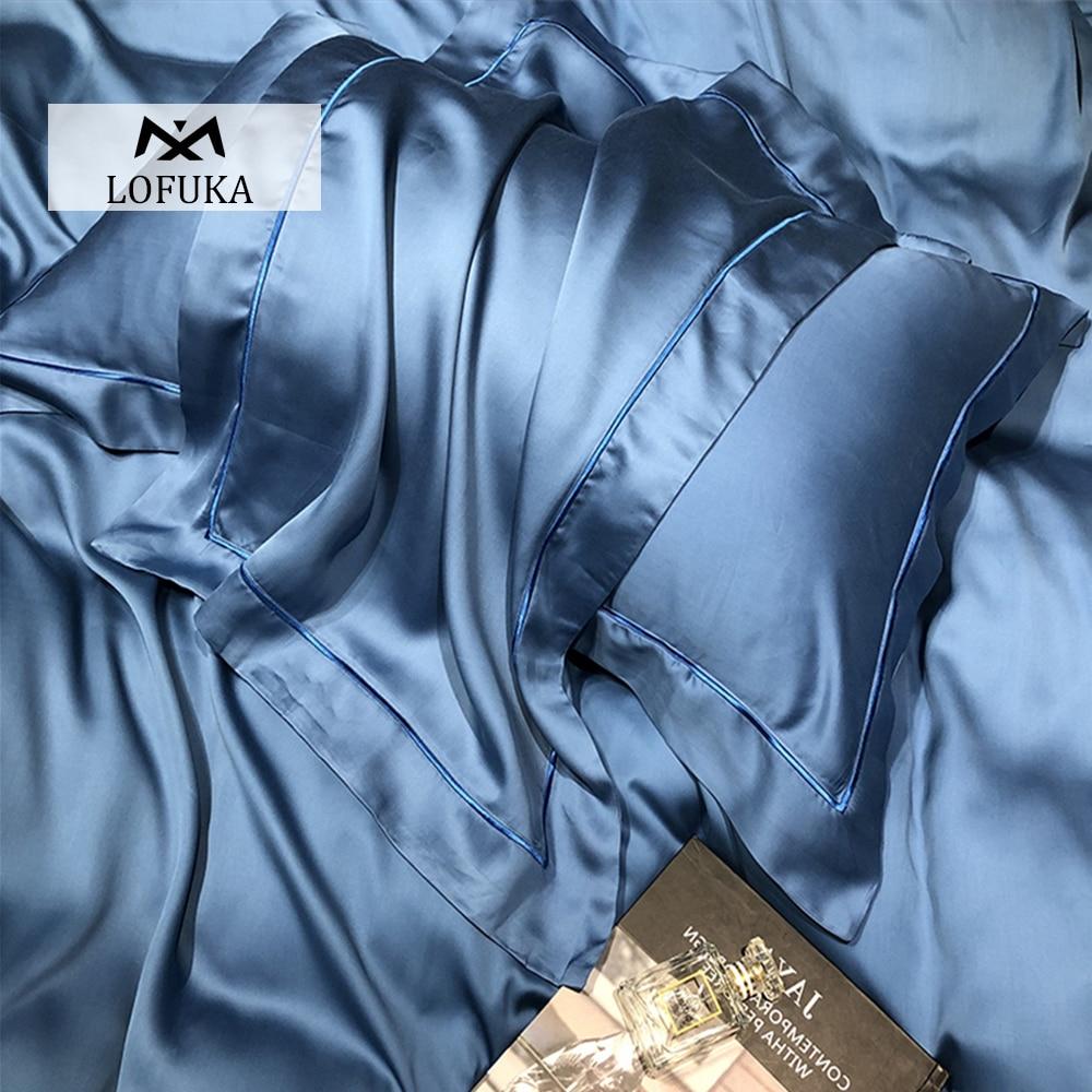 Lofuka morandi cores 100% seda azul fronha seda superior grau de seda beleza saudável pele cabelo fronha para a família sono profundo