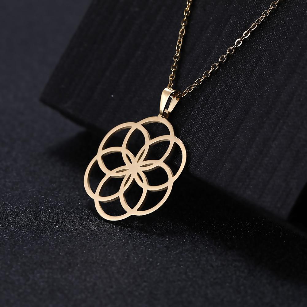 Dawapara nouvelle mode en acier inoxydable bijoux collier pour femmes plante fleur de vie creux coupé pendentif colliers